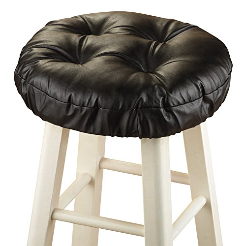Foam-Padded Thick Waterproof Barstool Seat Cover Cushion with Slip Resistant Backing, Black (Bar Stools Cover Seat)