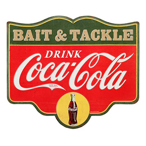 Open Road Brands Coca-Cola Bait and Tackle Embossed Tin Sign