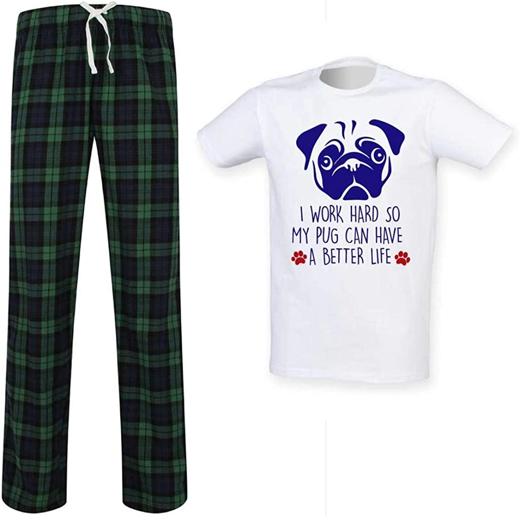 Mens Pug I Work Hard So My Pug Can Have A Better Life Tartan Pyjama Set Fathers