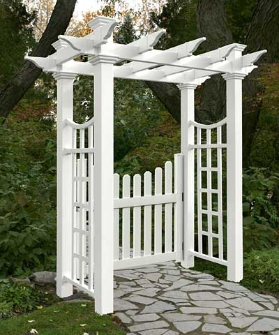 Deluxe Pergola - BestNest New England Fairfield Deluxe Arbor with Cottage Picket Gate