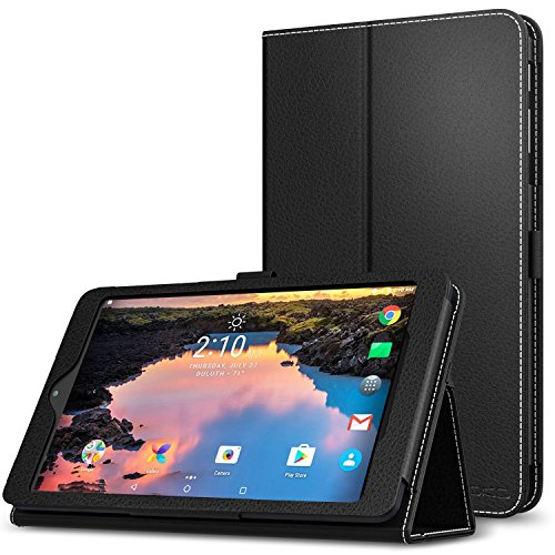 MoKo Alcatel A30 Tablet 8 Inch Case - Premium PU Leather Ultra Compact Protection Slim Folding Stand Cover Smart Folio Case for T-Mobile Alcatel A30 8 Tablet 2017 Released Model #9024W, BLACK