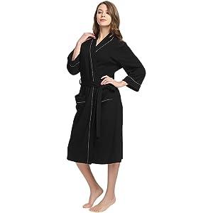 M M Mymoon Womens Cotton Robe Soft Kimono Spa Knit Bathrobe Lightweight Long 4f79d41df
