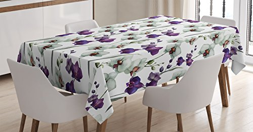 Ambesonne Watercolor Flower Decor Tablecloth, Wild Orchid Family Flowerpot Plants with Blooms Romantic Floral Decor Art, Rectangular Table Cover for Dining Room Kitchen, 60x84 Inch, Purple White