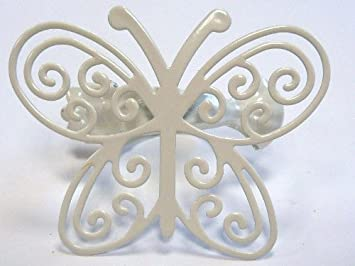 Set of 2 Butterfly Curtain Clips, Ref. 305001 White Butterfly ...