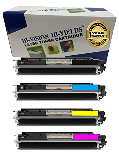 HI-VISION HI-YIELDS Compatible Toner Cartridge Replacement for Hewlett-Packard (HP) 126A CE310A CE311A CE312A CE313A (1 Black, 1 Cyan, 1 Yellow, 1 Magenta, 4-Pack)