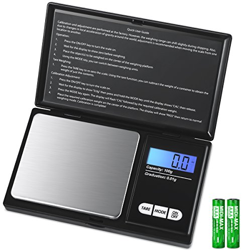 - AMIR Digital Mini Scale, 100g 0.01g/ 0.001oz Pocket Jewelry Scale, Electronic Smart Scale with 7 Units, LCD Backlit Display, Tare Function, Auto Off, Stainless Steel & Slim Design (Battery Included)