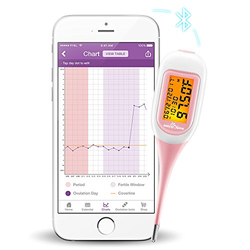 Easy@Home Smart Basal Thermometer, Large Screen and Backlit, Ovulation and Period Tracker with Premom(iOS & Android) - Auto BBT Sync, Charting, Coverline & Accurate Fertility Prediction #EBT-300