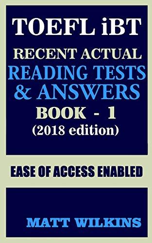 Toefl 2018 Recent Actual Reading Tests Answers Book 1 Toefl