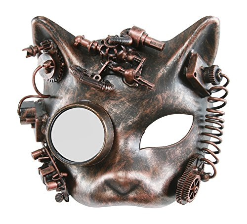 KAYSO INC The Morris Victorian Steampunk Cat Face Masquerade Mask (Vintage Bronze) (Victorian Face Masks)