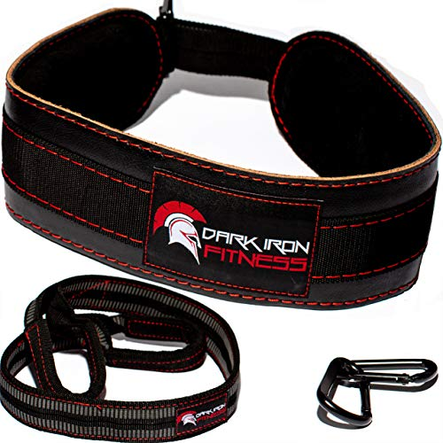 Dark Iron Fitness Leather Weight Lifting Dip Belt with Chain