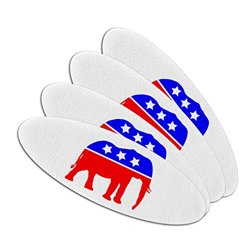 Political Emery Boards - Republican Elephant GOP Conservative America Political Party Double-Sided Oval Nail File Emery Board Set 4 Pack