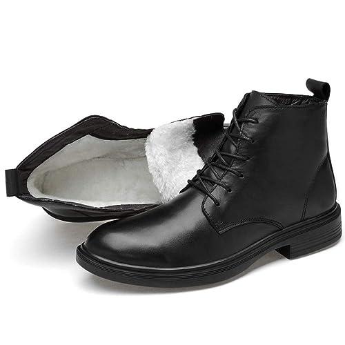 Botines De Cuero Negro para Hombre Zapatos De Tacón Alto Ejército ...