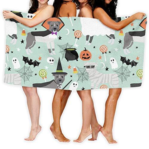 (Pitbull Halloween Costume Dog Vampire Ghost Mummy Light_17411 100% Polyester Beach Towel Chair (31