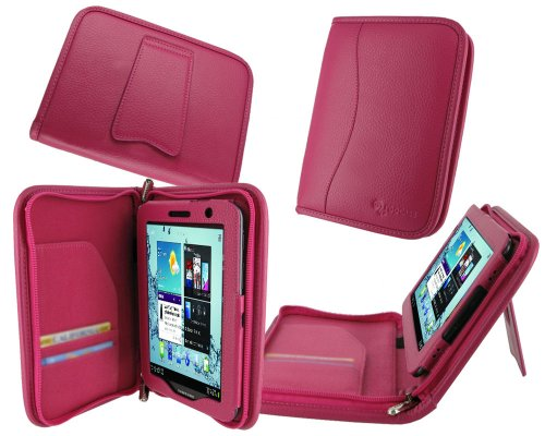rooCASE Executive Portfolio (Magenta) Leather Case for Samsung GALAXY Tab 2 7.0 / Samsung Galaxy Tab 2 7-Inch Student Edition