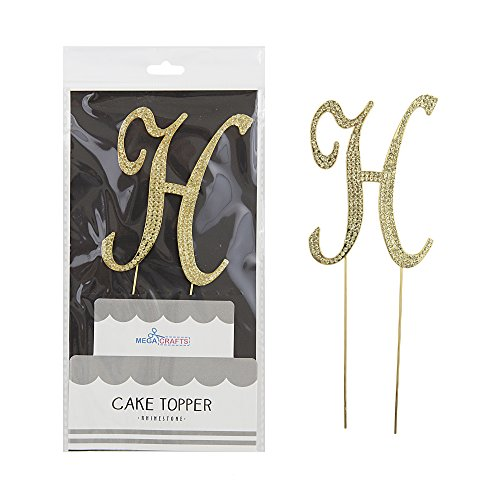 Mega Crafts Sparkly Gold Rhinestone Letter H Cake Topper Decoration | Shimmering Gold Crystals & Durable Alloy Metal | For Birthdays, Anniversaries, Centerpieces, Party Favors, Celebrations & More