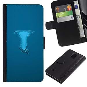 LECELL--Cuero de la tarjeta la carpeta del tirón Smartphone Slots Protección Holder For Samsung Galaxy Note 4 IV -- Azul Splash --