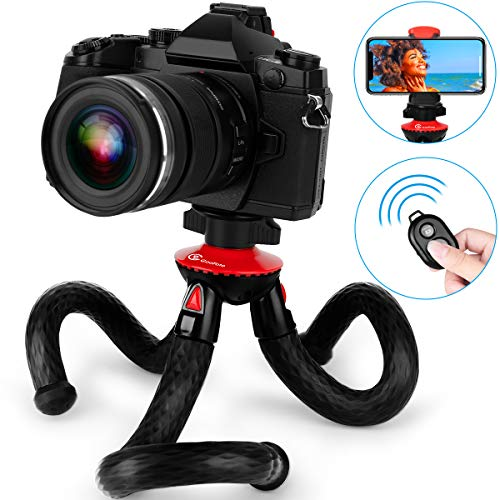 Phone Tripod, Goofoto Flexible Tripod for iPhone Android Phone with Remote, Camera Tripod Bendable Tripod Octopus Vlogging Tripod Mini Tripod for iPhone X/XS/XR/Max Mirrorless DSLR Canon Nikon
