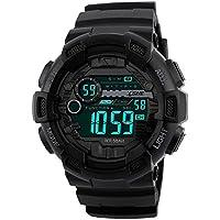 Reloj Deportivo Digital Resistente al agua al aire última intervensión dual time Gran Número 12H/24h Tiempo de los hombres Boy 's negro 1243