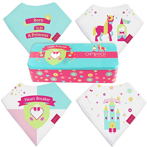 (Baby Bandana Drool Bibs for Girls Drooling Absorbent and Teething, Pack of 4 Bib set with Tin Gift Box)