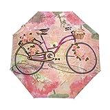 WXLIFE Flower Rose Bike Vintage Auto Folding Windproof Anti UV Umbrella Travel for Girls Kids Men