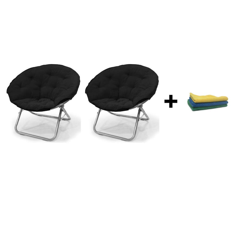Remarkable Mainstays Large Microsuede Saucer Chair Multiple Colors Black Reusable Cleaning Cloth Set Of 2 Machost Co Dining Chair Design Ideas Machostcouk