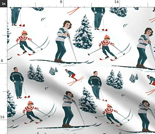 Ski Fabric - Sports D'Hiver Skiing Alpine Winter Snow Mountains Vacation Vintage Retro Print on Fabric by The Yard - Basketweave Cotton Canvas for Upholstery Home Decor Bottomweight Apparel