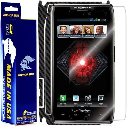 Armorsuit MilitaryShield Black Carbon Fiber Skin Wrap Film + HD Clear Screen Protector for Motorola Droid Razr - Anti-Bubble Film