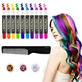 FRCOLOR Hair Chalk for Kids, 10 Colors Temporary Hair Chalk Pens with 3 Colors Hair Body Glitters, Salon Non-toxic Washable Hair Dye, Cosplay Birthday DIY for Kids Girls Teen Adults