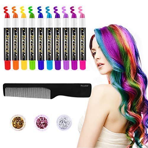 FRCOLOR Hair Chalk for Kids, 10 Colors Temporary Hair Chalk Pens with 3 Colors Hair Body Glitters, Salon Non-toxic Washable Hair Dye, Cosplay Birthday DIY for Kids Girls Teen Adults -