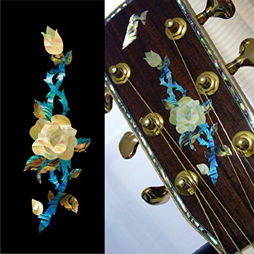 Inlay Sticker Decal Guitar Headstock In Abalone Theme - Rose Vine (Decal Guitar Headstock)