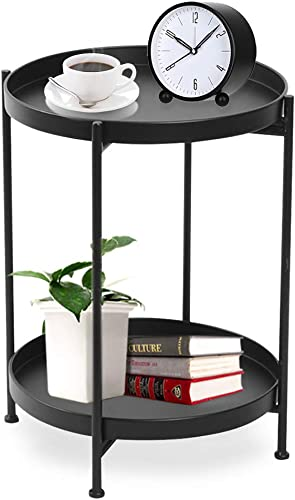 Black Round End Table 2 Tier Metal Sofa Side Table