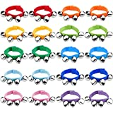 Augshy 20 Pcs Wrist Band Jingle Bells Musical Rhythm Toys,10 Colors,Children's Instruments for School