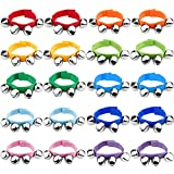 Augshy 20 Pcs Wrist Band Jingle Bells Musical Rhythm Toys,10 Colors,Children's Instruments for School