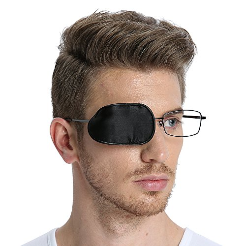 FCAROLYN Silk Eye Patch for Glasses to Treat Lazy Eye/Amblyopia / Strabismus ONE PATCH,Large,Black from FCAROLYN