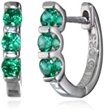 Sterling-Silver-Created-Emerald-3-Stone-Hoop-Earrings