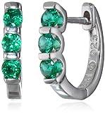 Sterling-Silver-Created-Emerald-3-Stone-Hoop-Earrings
