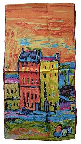 YSSP, Wassily Kandinsky's Houses in Munich, Elegant Luxury Fashion Silk Scarf Classic Premium Vintage Shawl Wrap Art, Oblong