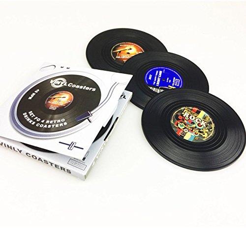 Compra vinilo Set de 4 posavasos Tocadiscos Posavasos en diseño ...