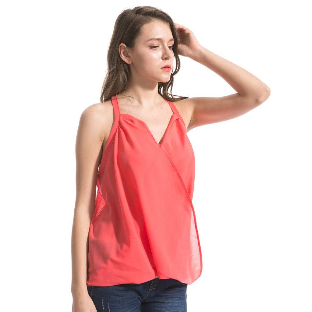 Womens Sleeveless V Neck T Shirt Chiffon Pleated Casual Chiffon Cami Tank Tops