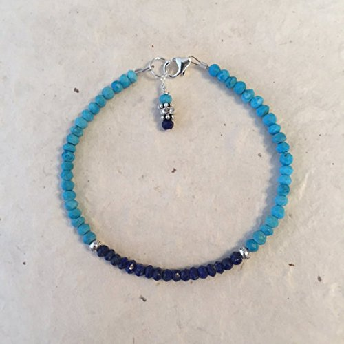 JP_Beads Turquoise Lapis Lazuli Karen Hill Tribe Thai Silver Beaded Bracelet, Sundance Style, December Birthstone 3-4mm