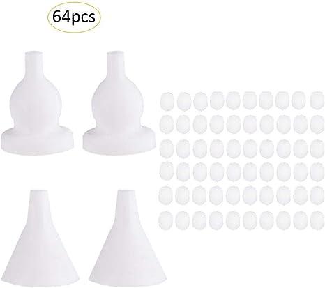 Set de accesorios para limpiar la nariz con aspirador nasal para bebé, 64 piezas de filtro de silicona de algodón, seguro e higiénico para recién nacidos y niños pequeños: Amazon.es: Bebé