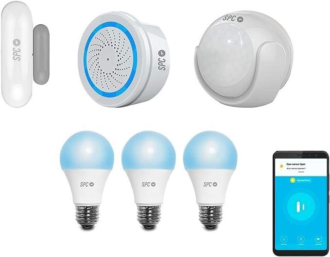 SPC 6908K2 Security Starter Kit 2: 2 sensores (Movimiento y Puertas/Ventanas), Alarma y 3 Bombillas Inteligentes Wi-Fi LED Color y Blanco cálido Sirius 470, Compatible con Amazon Alexa y Google Home: Spc -Internet: