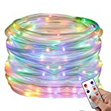 YINUO LIGHT LED Rope Lights, Waterproof String Lights with Remote Timer Strip Lights 8 Mode Dimmable Fairy Lights For Outdoor Indoor Home Decoration(Multi-color)