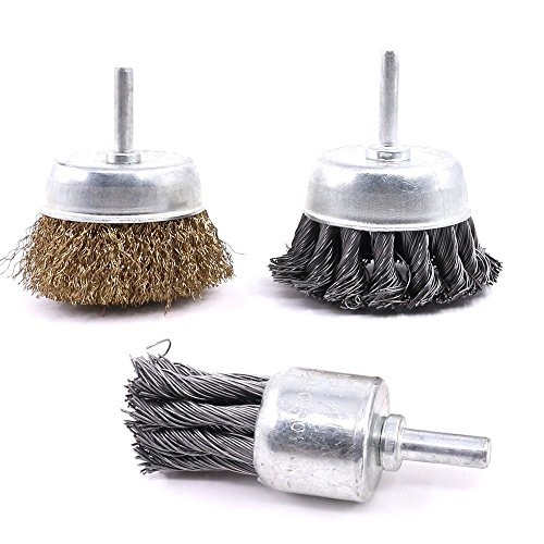 Glarks 3 Pack Knotted & Crimped Cup Steel Wire Wheels Brush & Carbon Knot Wire End Brush For Rust removal, Corrosion and Scrub Surfaces