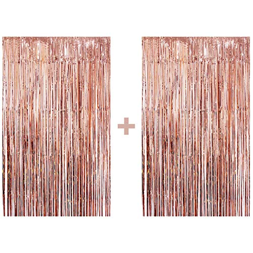 (Rose Gold Foil Fringe Curtain - Pack of 2 | Rose Gold Party Decorations Party Supplies for Birthday, Bridal Shower, Baby Shower,Backdrop | Shiny Metallic Tinsel Door Curtain)