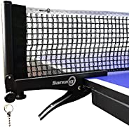 Sanung S506 Table Tennis Net and Post Set, Foldable Ping Pong Screw On Clamp Net Adjustable Post Set with Bead
