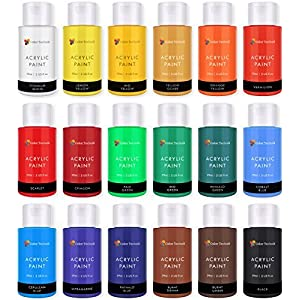 Color Technik Acrylic Paint Set, Artist Quality, Large Set – 18x59ml (2-Ounce) Bottles, Best Colors for Painting Canvas, Wood, Clay, Fabric, Nail Art & Ceramic, Rich Pigments, Heavy Body, Gift Box