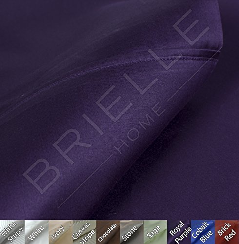 Brielle 630 Thread Count Egyptian Cotton Sateen Premium 600 Plus Duvet Cover, Full/Queen, Royal Purple (Full Queen Purple Cover Duvet)