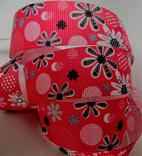 Grosgrain Ribbon Shocking Pink with Black Floral Print - 7/8