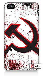 Distressed Look Russian Communist Symbol Iphone 5 Quality TPU SOFT RUBBER Snap On Case for Iphone 5 - AT&T Sprint Verizon - White Case by icecream design